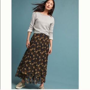 Anthropologie Floral Maxi Skirt